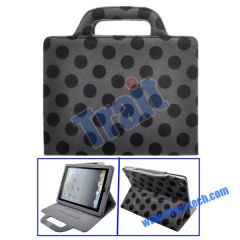 Dots Pattern Mink Handbag Stand Leather Case for iPad 2(Drak Grey)