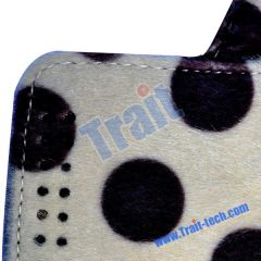 Dots Pattern Mink Handbag Stand Leather Case for iPad 2(Cream-colored)