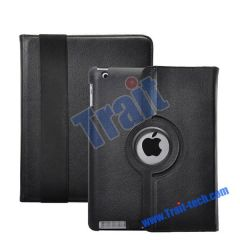 360 Degree Rotating Litchi Lines Stand Leather Case for iPad 2