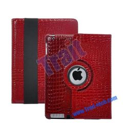 360 Degree Rotating Crocodile Skin Stand Leather Case for iPad 2