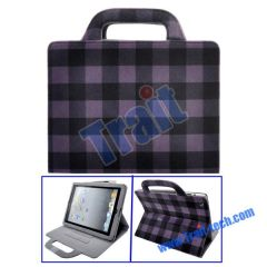 Lattice Pattern Mink Handbag Stand Leather Case for iPad 2(Purple)