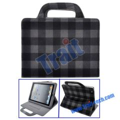 Lattice Pattern Mink Handbag Stand Leather Case for iPad 2(Grey)