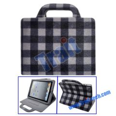 Lattice Pattern Mink Handbag Stand Leather Case for iPad 2(White)