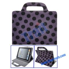 Dots Pattern Mink Handbag Stand Leather Case for iPad 2(Purple)