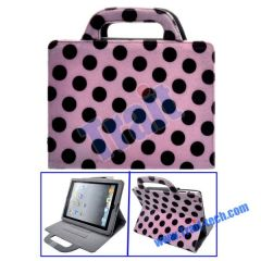 Dots Pattern Mink Handbag Stand Leather Case for iPad 2(Pink)