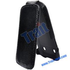 Wholesale BlackBerry Bold Leather Case, Snake Skin Leather Flip Case Cover for BlackBerry Bold 9900/ 9930(Black)