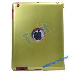 Hole Design Silicone + Aluminium Metal Hard Back Cover for iPad 2 (Green)