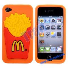 Unique McDonald's Pattern Silicone Case for iPhone 4S/iPhone 4(Orange)
