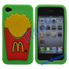 Unique McDonald's Pattern Silicone Case for iPhone 4S/iPhone 4(Green)