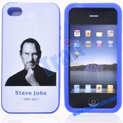 1955 - 2011 Steve Jobs Memorial Tribute Silicone Protective Case for iPhone 4S(Indigo)