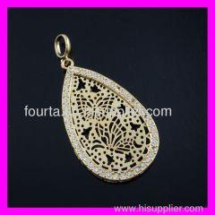 Drop water 18K gold plated allah pendant