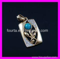 FJ golden plated zircon pendant