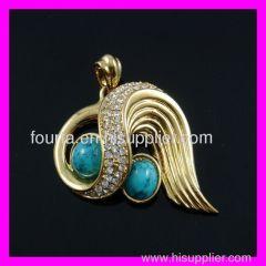 fashion gold turquoise pendant
