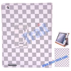 Apple iPad 2 fashion tartan design Leather Stand Case Cover(White)