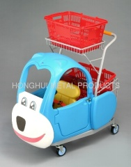 supermarket cart with kid's toy seat