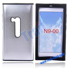 Aluminum Metal Skin with Silicone Side Hard Case Cover for Nokia N9 N9-00(Silver)