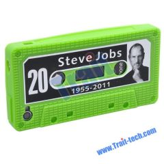 Steve Jobs Soft Silicone Cassette Tape Case Cover For iPhone 4 (Green)