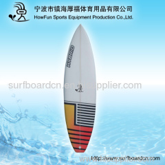 PU surfboard with retro nose and squash tail and polish finish