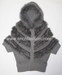 Rabbit fur with knit and rich fox hood