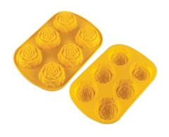 6 Cavities Silicone Cake Mold --Rose