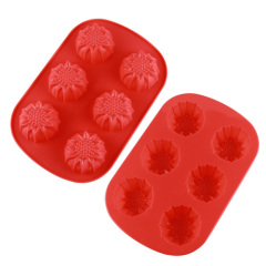 6 Cavities Silicone Cake Mold -- Sunflower