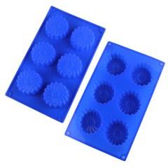 6 Cavities Silicone Cake Mold -- Flower