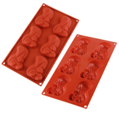 6 Cavities Silicone Chocolate & Cookie Mold -- Squirrel