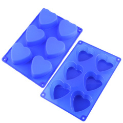 6 Heart Valentine silicone cupcake mold baking tray