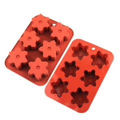 Snowflakes Shape 6 Cavities Silicone Cake Pan Baking Mold