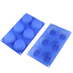 Sunflower Pattern 6 Cavities Silicone Cake Pan Baking Mold