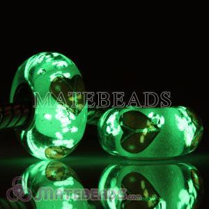Painted Zip Heart Fluorescent European Glass Bead with big hole Bracelets