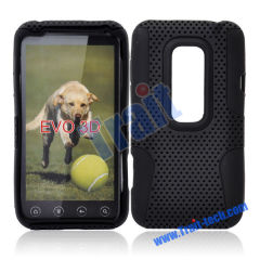 Detachable Two Parts Silicone and Reticular Hard Plastic Protective Case for HTC EVO 3D(Black)