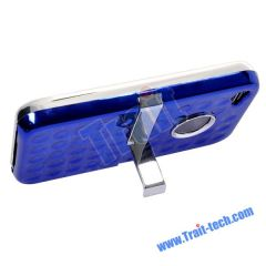 New Hard Case with Metal Stand for iPhone 4 (Blue)