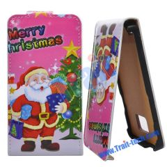Merry Christmas Leather Flip Case for Samsung i9100 (Pink)