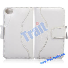 Leather Case Purse Style Magnetic Flip Case Cover for iPhone 4 with Card Slot(White)