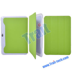 PU Leather Cover Hard Back Case for Samsung Galaxy Tab P7300 P7310(Green)