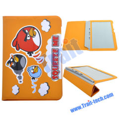 Cute Angry Brids Design Leather Protectiver Folding Case Cover for Samsung Galaxy Tab P7300/ P7310(Orange)