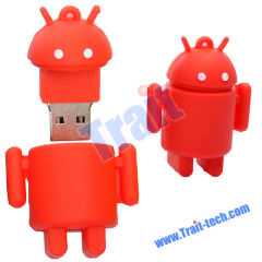 Hot Sales Cute Android Rubber Robot USB Flash Drive with 1GB, 2GB, 4GB, 8GB(Red)