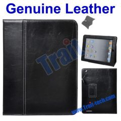 Black Folio Genuine Leather Case Stand for iPad 2