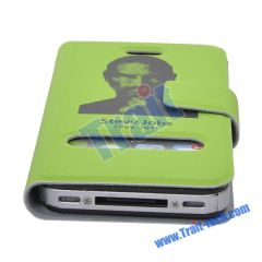 Steve Jobs Memorial Smart Cover Leather Case for iPhone 4(Green)
