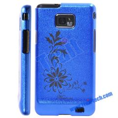 Hot Sale Flower Pattern Skin Electroplating Frosted Hard Case for Samsung Galaxy S2 i9100(Blue)