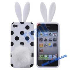 Lovely Dot Rabbit Silicone Case Cover for iPhone 4(White)