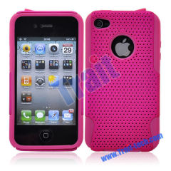 New Arrive Detachable Reticular and Silicone Protective Skin Case for Apple iPhone 4(Hot pink)