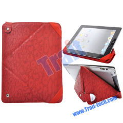 Leopard Pattern Pouch Style with Press Button Leather Case Cover for Apple iPad 2(Red)