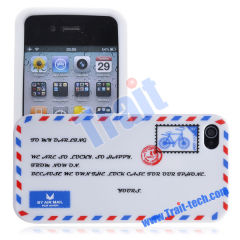 Wholesale Attractive Envelop Design Soft Silicone Case for Apple iPhone 4S(White)