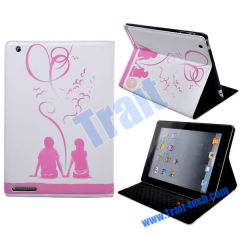 Wholesale iPad 2 Leather Case, Fashion Folding with Stand Leather Case for iPad 2(White + pink)