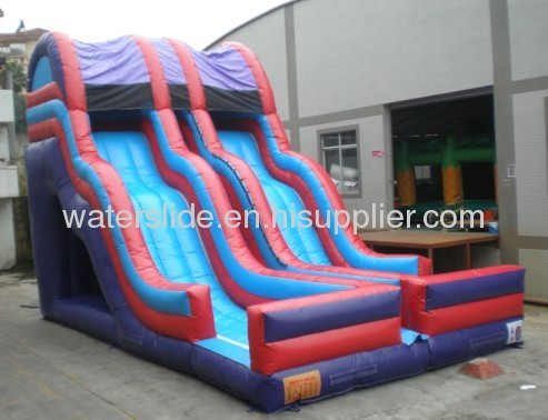 Double lanes water slide inflatable parks