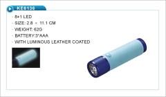Luminous leather LED flashlight