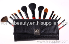 Deluxe 15pcs red makeup brush set with black snake pouch red hand travel size makeup cosmetic brush set