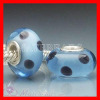 european Murano Blue Glass Bead with Black Polka Dot Design with Sterling Cor